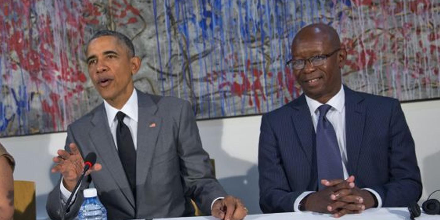 Manuel Cuesta Morúa junto a Barack Obama